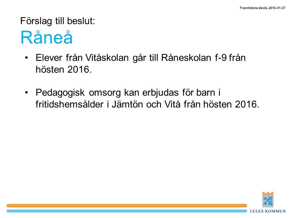 Förslag till beslut: Råneå Elever från Vitåskolan går till Råneskolan f-9 från hösten 2016.