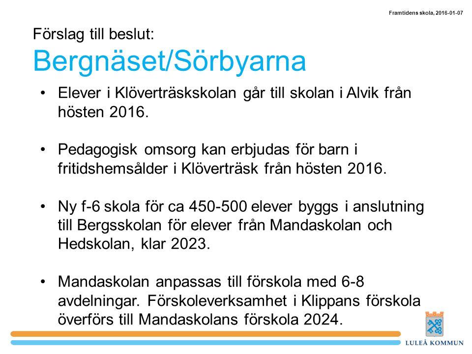 Förslag till beslut: Bergnäset/Sörbyarna Elever i Klöverträskskolan går till skolan i Alvik från hösten 2016.