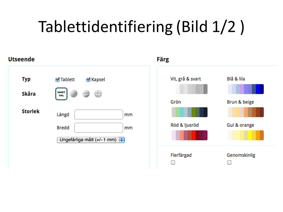 Tablettidentifiering (Bild 1/2 )