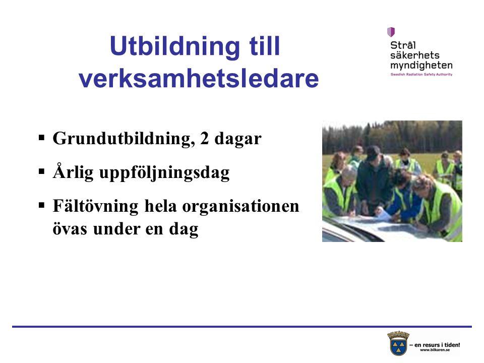  Grundutbildning, 2 dagar  Årlig uppföljningsdag  Fältövning hela organisationen övas under en dag Utbildning till verksamhetsledare