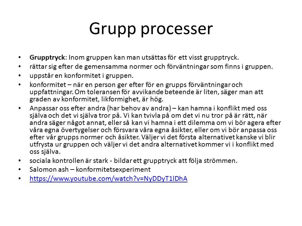Grupp processer Grupptryck: Inom gruppen kan man utsättas för ett visst grupptryck. rättar sig efter de gemensamma normer och förväntningar som finns