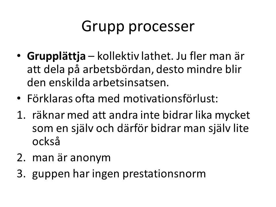 Grupp processer Grupplättja – kollektiv lathet. Ju fler man är att dela på arbetsbördan, desto mindre blir den enskilda arbetsinsatsen. Förklaras ofta