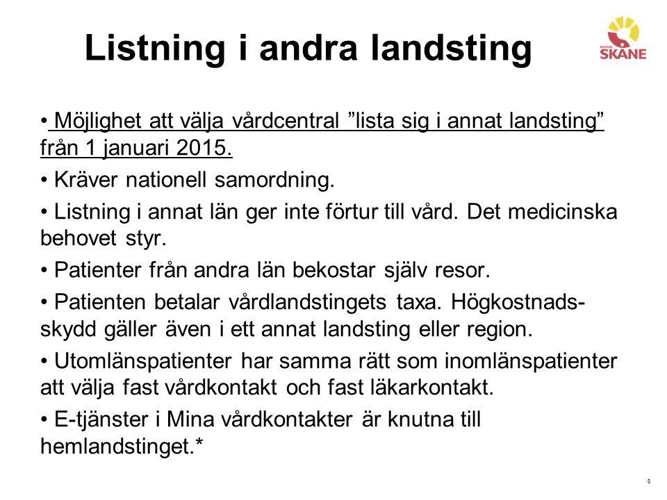 """8 Listning i andra landsting Möjlighet att välja vårdcentral """"lista sig i annat landsting"""" från 1 januari 2015. Kräver nationell samordning. Listning"""