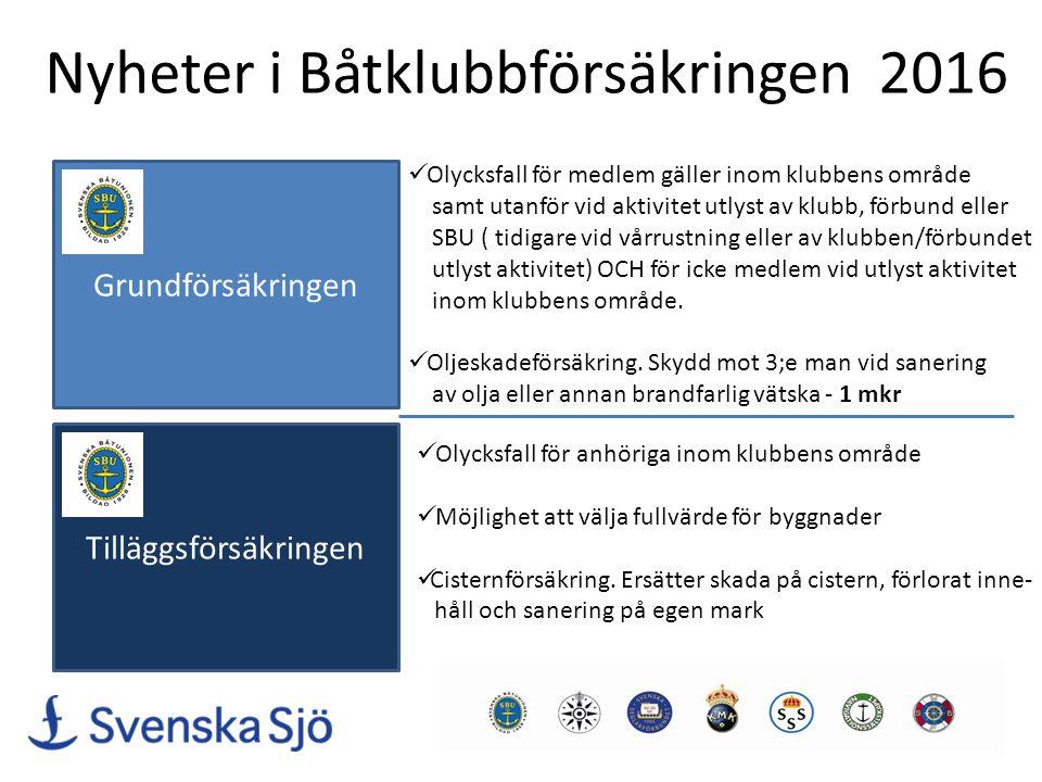 Nyheter i Båtklubbförsäkringen 2016 Grundförsäkringen Olycksfall för medlem gäller inom klubbens område samt utanför vid aktivitet utlyst av klubb, fö