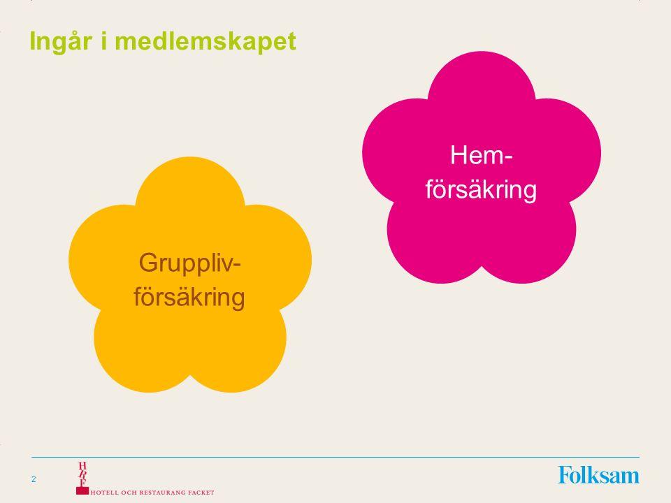 Innehållsyta Rubrikyta 2 Ingår i medlemskapet Gruppliv- försäkring Hem- försäkring