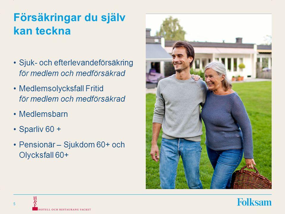Innehållsyta Rubrikyta Försäkringar du själv kan teckna Sjuk- och efterlevandeförsäkring för medlem och medförsäkrad Medlemsolycksfall Fritid för medlem och medförsäkrad Medlemsbarn Sparliv 60 + Pensionär – Sjukdom 60+ och Olycksfall 60+ 5