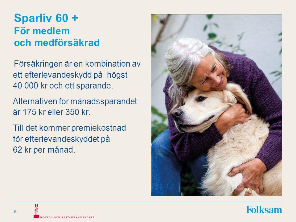 Innehållsyta Rubrikyta Gruppförsäkring 60 + Pensionärsförsäkring för medlem och medförsäkrad Olycksfall 60+ 10 Sjukdom 60+ Försäkringsersättning högst 20 000 kr Ersättning vid allvarliga diagnoser på grund av sjukdom som fastställts före 85 års ålder.