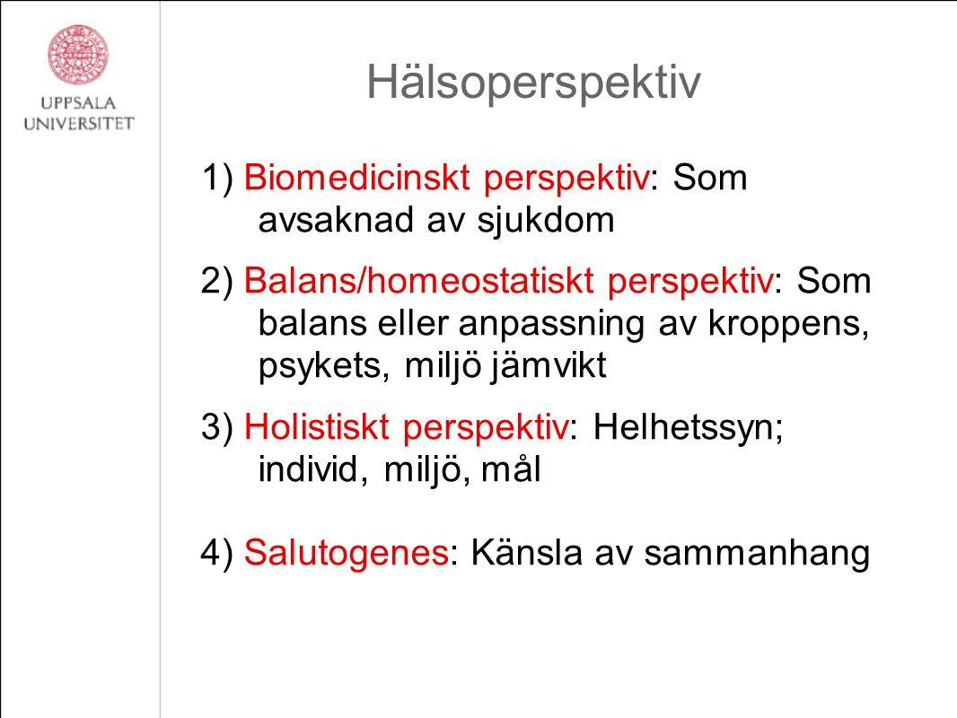 Hälsoperspektiv 1) Biomedicinskt perspektiv: Som avsaknad av sjukdom 2) Balans/homeostatiskt perspektiv: Som balans eller anpassning av kroppens, psyk
