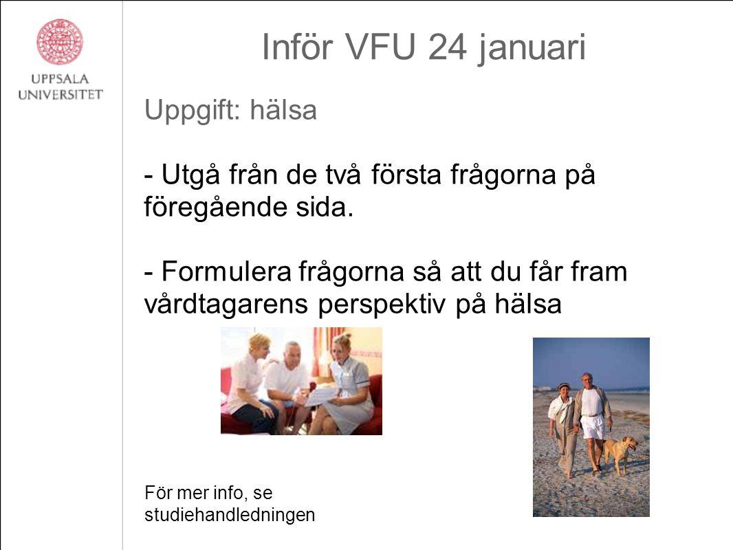 Inför VFU 24 januari Uppgift: hälsa - Utgå från de två första frågorna på föregående sida. - Formulera frågorna så att du får fram vårdtagarens perspe