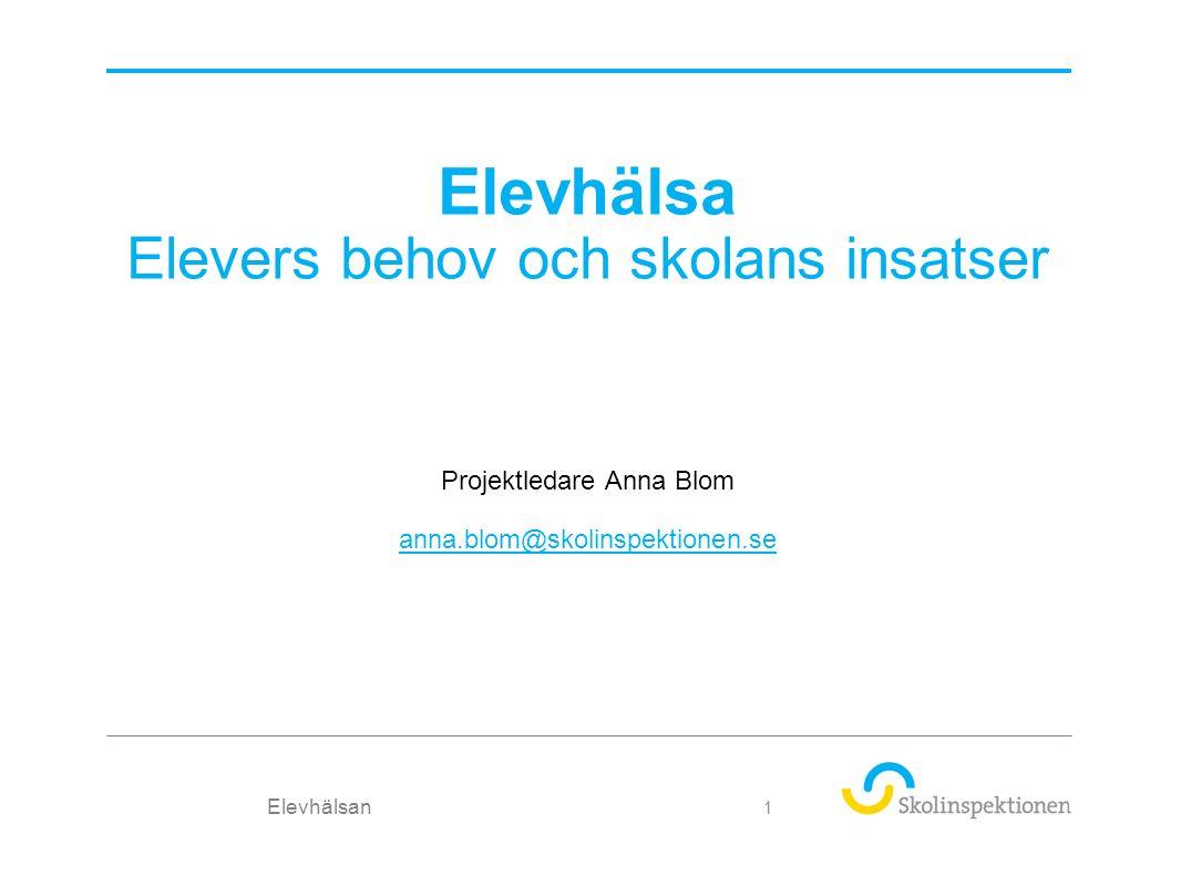 Elevhälsa Elevers behov och skolans insatser Projektledare Anna Blom anna.blom@skolinspektionen.se Elevhälsan 1