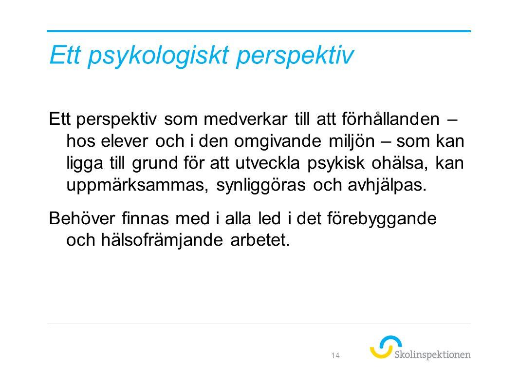 Ett psykologiskt perspektiv Ett perspektiv som medverkar till att förhållanden – hos elever och i den omgivande miljön – som kan ligga till grund för att utveckla psykisk ohälsa, kan uppmärksammas, synliggöras och avhjälpas.