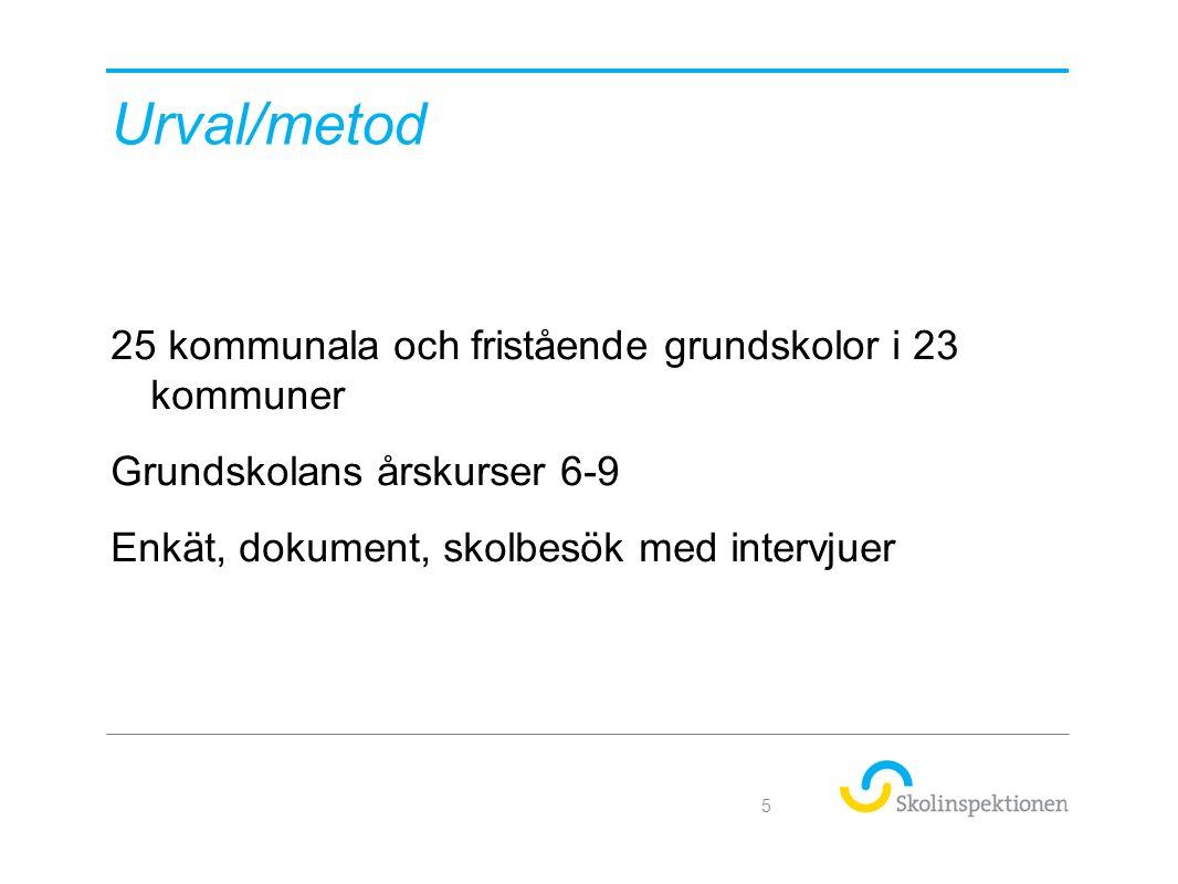 Urval/metod 25 kommunala och fristående grundskolor i 23 kommuner Grundskolans årskurser 6-9 Enkät, dokument, skolbesök med intervjuer 5