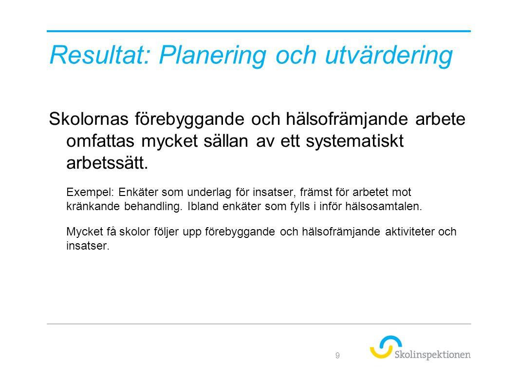 Resultat: Planering och utvärdering Skolornas förebyggande och hälsofrämjande arbete omfattas mycket sällan av ett systematiskt arbetssätt.