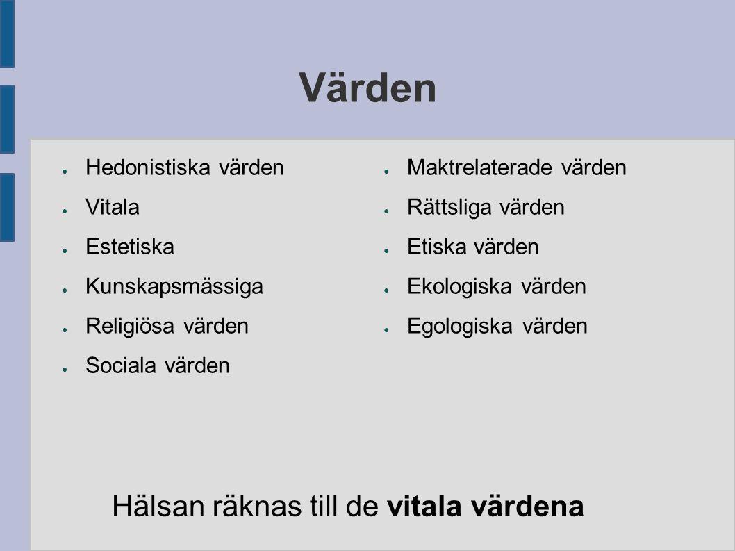 Värden ● Hedonistiska värden ● Vitala ● Estetiska ● Kunskapsmässiga ● Religiösa värden ● Sociala värden ● Maktrelaterade värden ● Rättsliga värden ● Etiska värden ● Ekologiska värden ● Egologiska värden Hälsan räknas till de vitala värdena