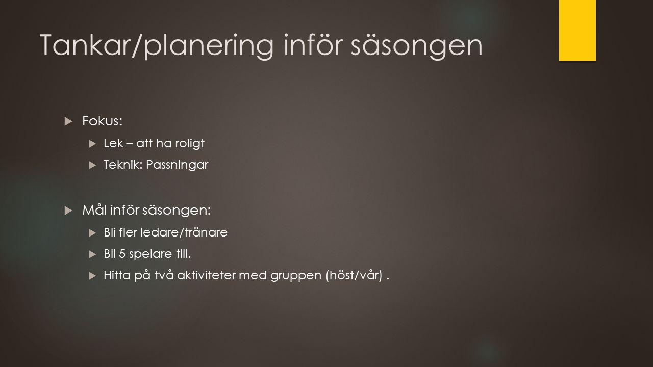 Tankar/planering inför säsongen  Fokus:  Lek – att ha roligt  Teknik: Passningar  Mål inför säsongen:  Bli fler ledare/tränare  Bli 5 spelare till.