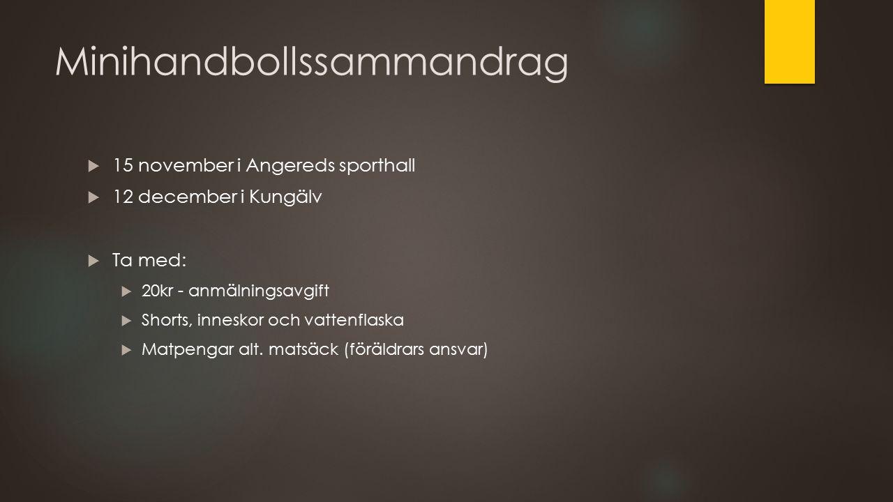Minihandbollssammandrag  15 november i Angereds sporthall  12 december i Kungälv  Ta med:  20kr - anmälningsavgift  Shorts, inneskor och vattenfl