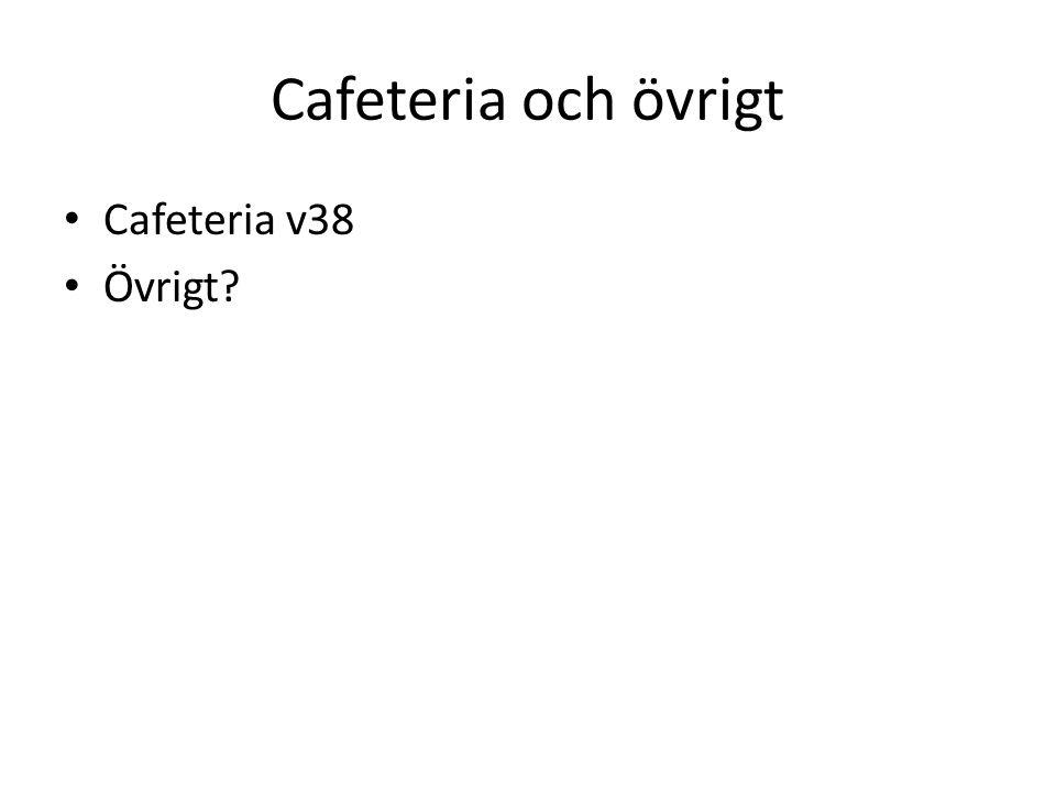 Cafeteria och övrigt Cafeteria v38 Övrigt