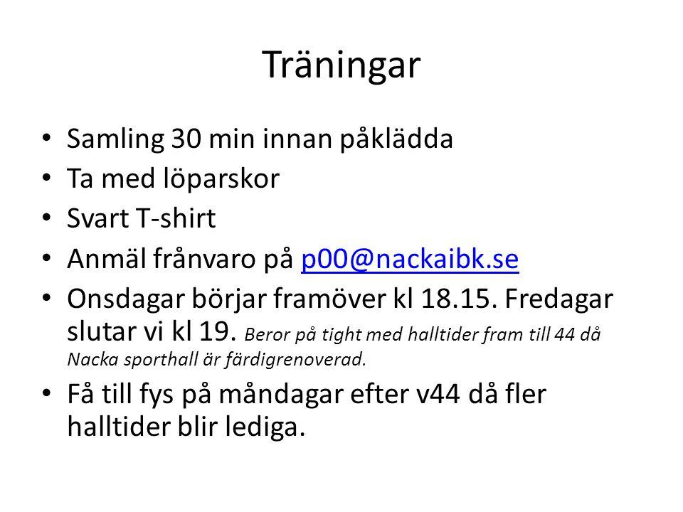 Träningar Samling 30 min innan påklädda Ta med löparskor Svart T-shirt Anmäl frånvaro på p00@nackaibk.sep00@nackaibk.se Onsdagar börjar framöver kl 18.15.
