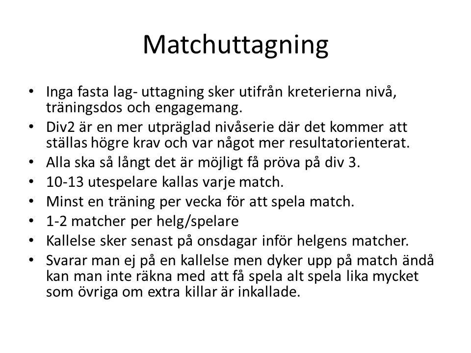 Matchuttagning Inga fasta lag- uttagning sker utifrån kreterierna nivå, träningsdos och engagemang.