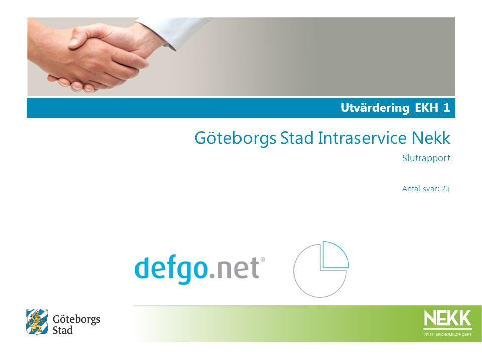 Utvärdering_EKH_1 Göteborgs Stad Intraservice Nekk Slutrapport Antal svar: 25
