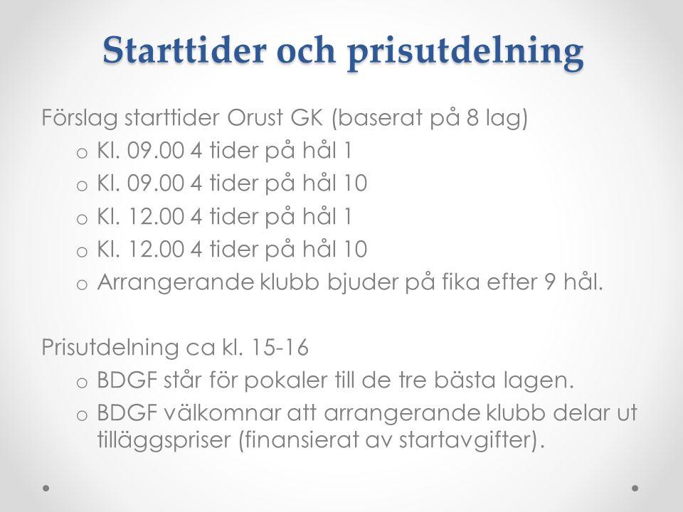 Förslag starttider Orust GK (baserat på 8 lag) o Kl.