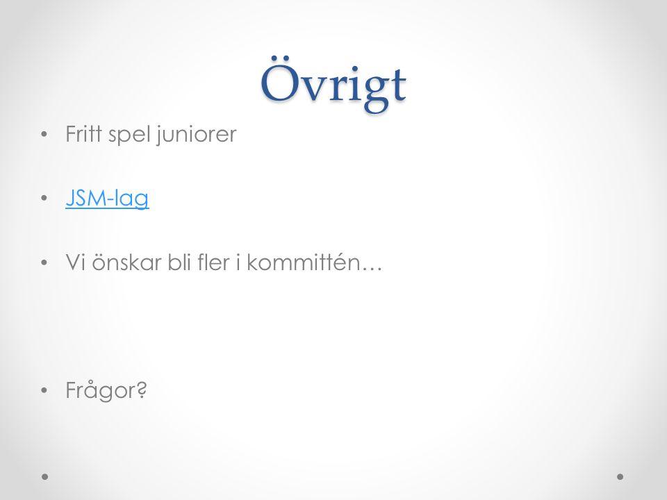 Övrigt Fritt spel juniorer JSM-lag Vi önskar bli fler i kommittén… Frågor