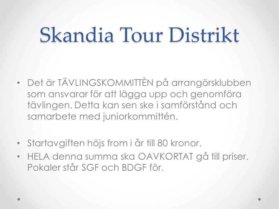 Skandia Tour Distrikt Det är TÄVLINGSKOMMITTÈN på arrangörsklubben som ansvarar för att lägga upp och genomföra tävlingen.