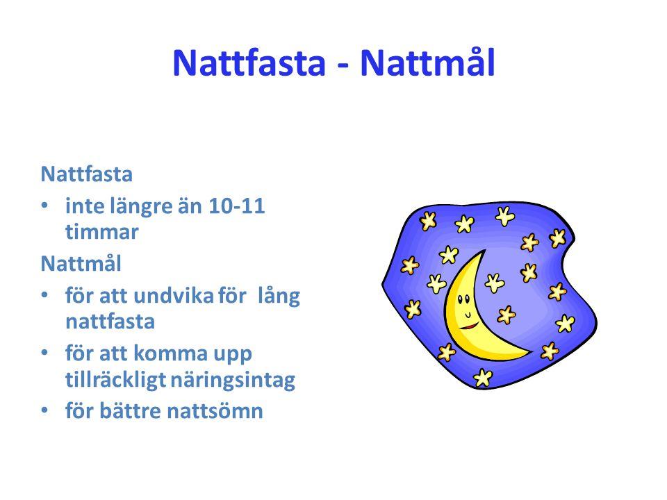 Nattfasta - Nattmål Nattfasta inte längre än 10-11 timmar Nattmål för att undvika för lång nattfasta för att komma upp tillräckligt näringsintag för b