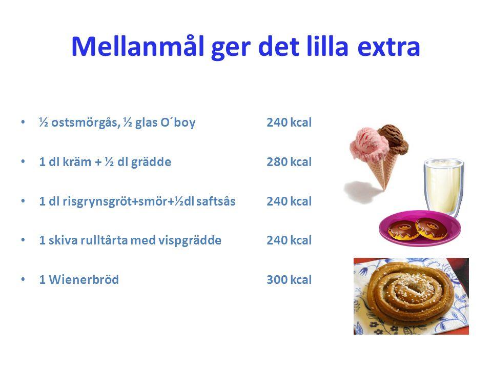 Mellanmål ger det lilla extra ½ ostsmörgås, ½ glas O´boy 240 kcal 1 dl kräm + ½ dl grädde280 kcal 1 dl risgrynsgröt+smör+½dl saftsås240 kcal 1 skiva r