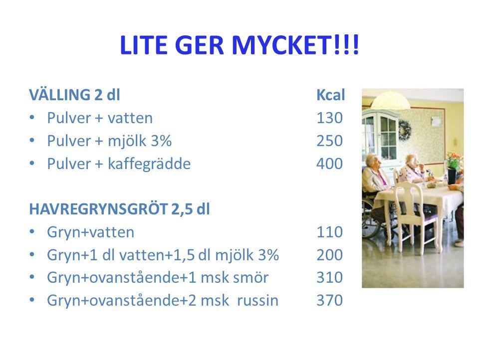 LITE GER MYCKET!!! VÄLLING 2 dl Kcal Pulver + vatten 130 Pulver + mjölk 3%250 Pulver + kaffegrädde400 HAVREGRYNSGRÖT 2,5 dl Gryn+vatten110 Gryn+1 dl v