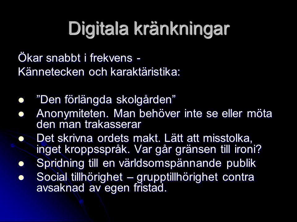 Digitala kränkningar Ökar snabbt i frekvens - Kännetecken och karaktäristika: Den förlängda skolgården Den förlängda skolgården Anonymiteten.