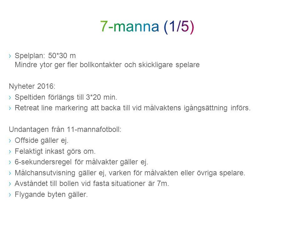 ›Spelplan: 50*30 m Mindre ytor ger fler bollkontakter och skickligare spelare Nyheter 2016: ›Speltiden förlängs till 3*20 min.