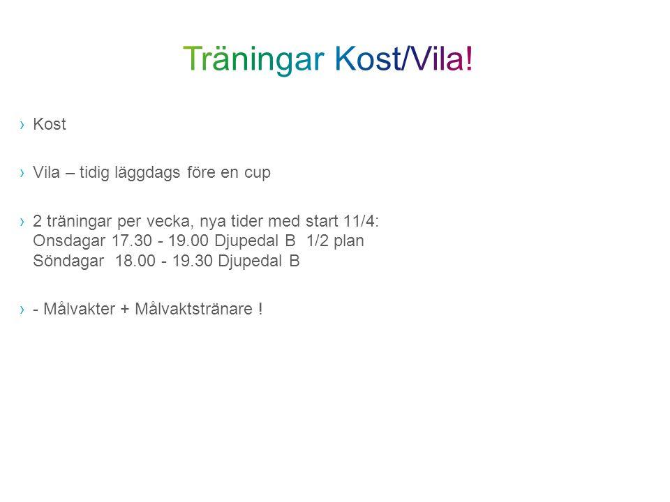 ›Kost ›Vila – tidig läggdags före en cup ›2 träningar per vecka, nya tider med start 11/4: Onsdagar 17.30 - 19.00 Djupedal B 1/2 plan Söndagar 18.00 -