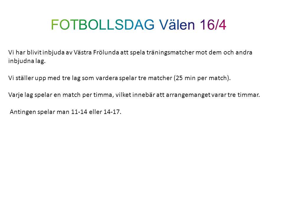 Vi har blivit inbjuda av Västra Frölunda att spela träningsmatcher mot dem och andra inbjudna lag. Vi ställer upp med tre lag som vardera spelar tre m