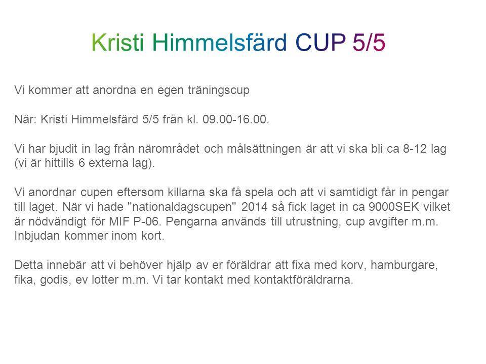 Vi kommer att anordna en egen träningscup När: Kristi Himmelsfärd 5/5 från kl. 09.00-16.00. Vi har bjudit in lag från närområdet och målsättningen är