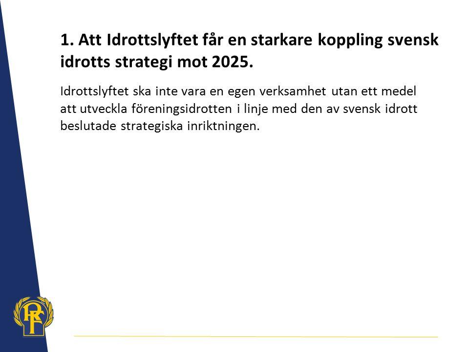 1. Att Idrottslyftet får en starkare koppling svensk idrotts strategi mot 2025.