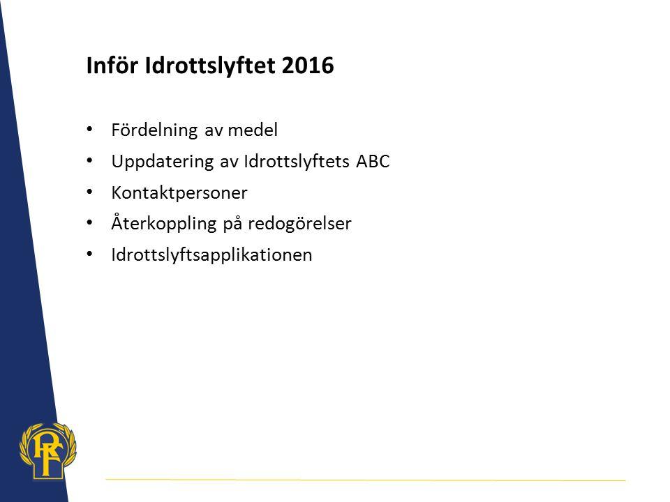 Inför Idrottslyftet 2016 Fördelning av medel Uppdatering av Idrottslyftets ABC Kontaktpersoner Återkoppling på redogörelser Idrottslyftsapplikationen
