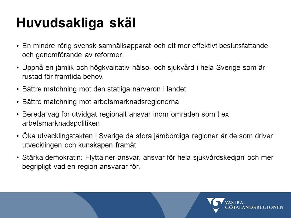 Huvudsakliga skäl En mindre rörig svensk samhällsapparat och ett mer effektivt beslutsfattande och genomförande av reformer. Uppnå en jämlik och högkv