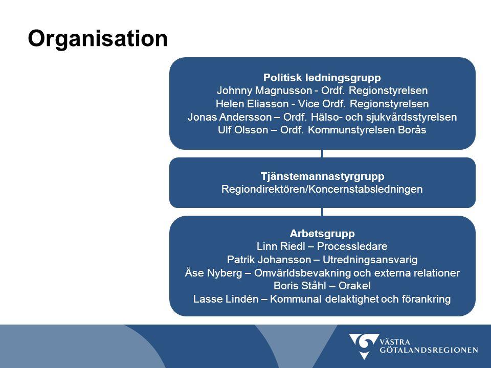 Organisation Politisk ledningsgrupp Johnny Magnusson - Ordf. Regionstyrelsen Helen Eliasson - Vice Ordf. Regionstyrelsen Jonas Andersson – Ordf. Hälso