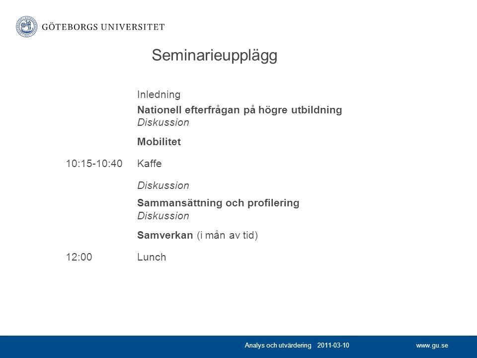 www.gu.se Seminarieupplägg Inledning Nationell efterfrågan på högre utbildning Diskussion Mobilitet 10:15-10:40Kaffe Diskussion Sammansättning och profilering Diskussion Samverkan (i mån av tid) 12:00Lunch Analys och utvärdering 2011-03-10