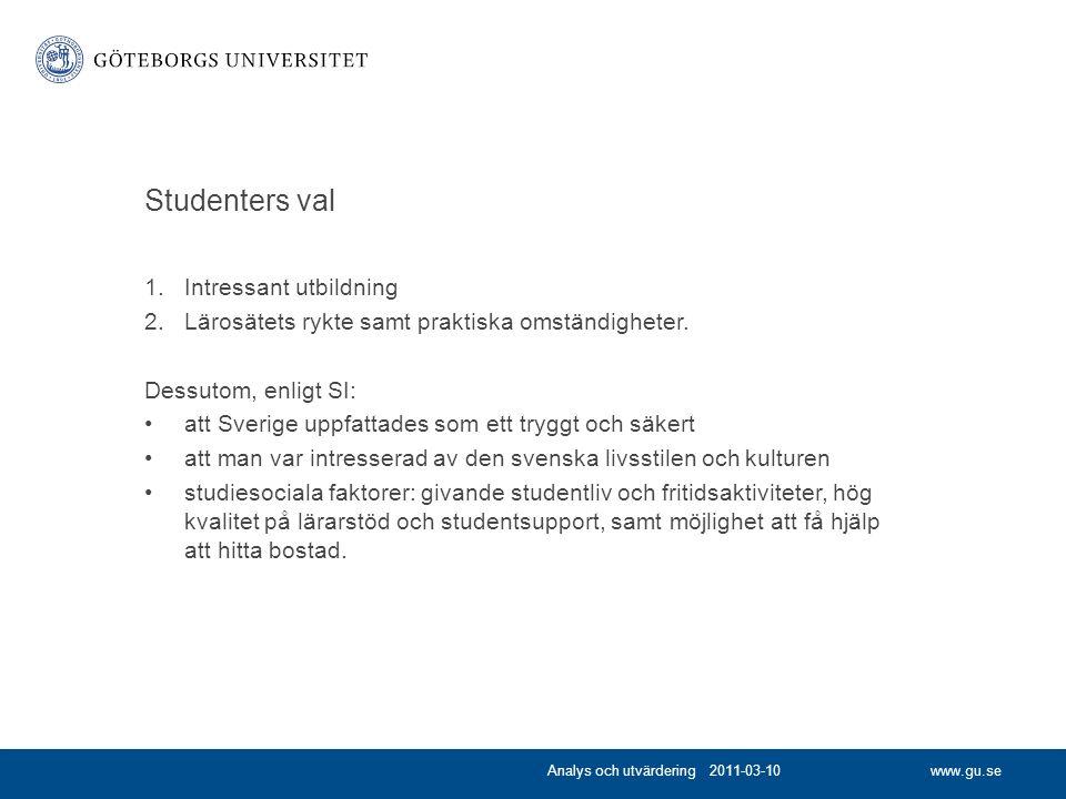 www.gu.se Studenters val 1.Intressant utbildning 2.Lärosätets rykte samt praktiska omständigheter.