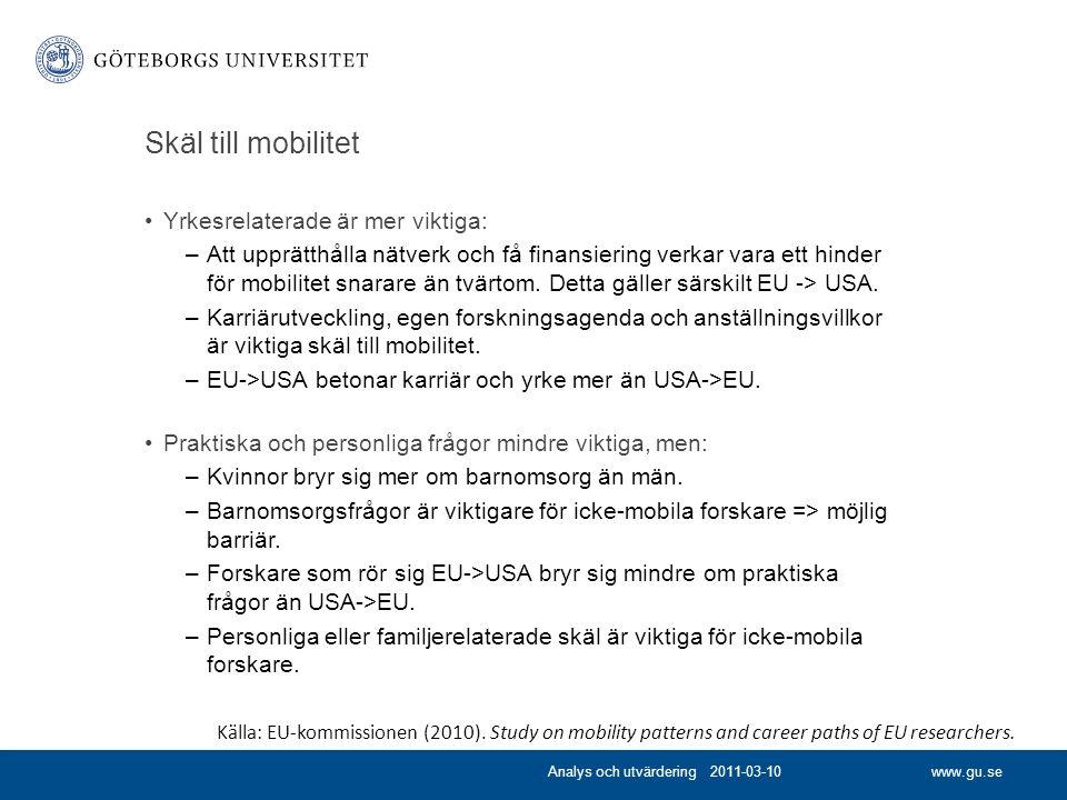 www.gu.se Skäl till mobilitet Yrkesrelaterade är mer viktiga: –Att upprätthålla nätverk och få finansiering verkar vara ett hinder för mobilitet snarare än tvärtom.