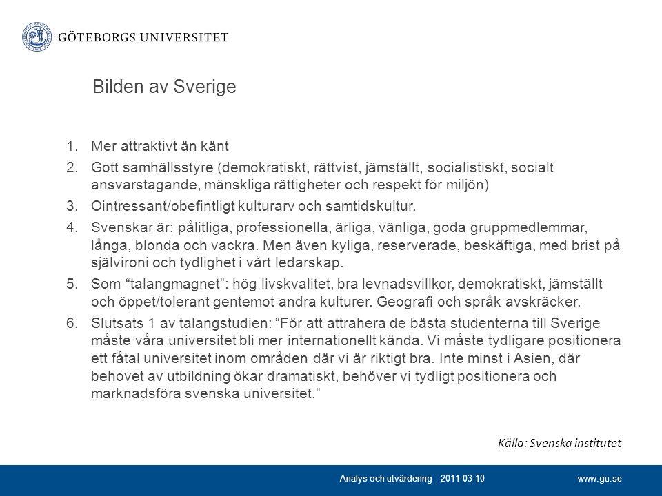 www.gu.se Bilden av Sverige 1.Mer attraktivt än känt 2.Gott samhällsstyre (demokratiskt, rättvist, jämställt, socialistiskt, socialt ansvarstagande, mänskliga rättigheter och respekt för miljön) 3.Ointressant/obefintligt kulturarv och samtidskultur.