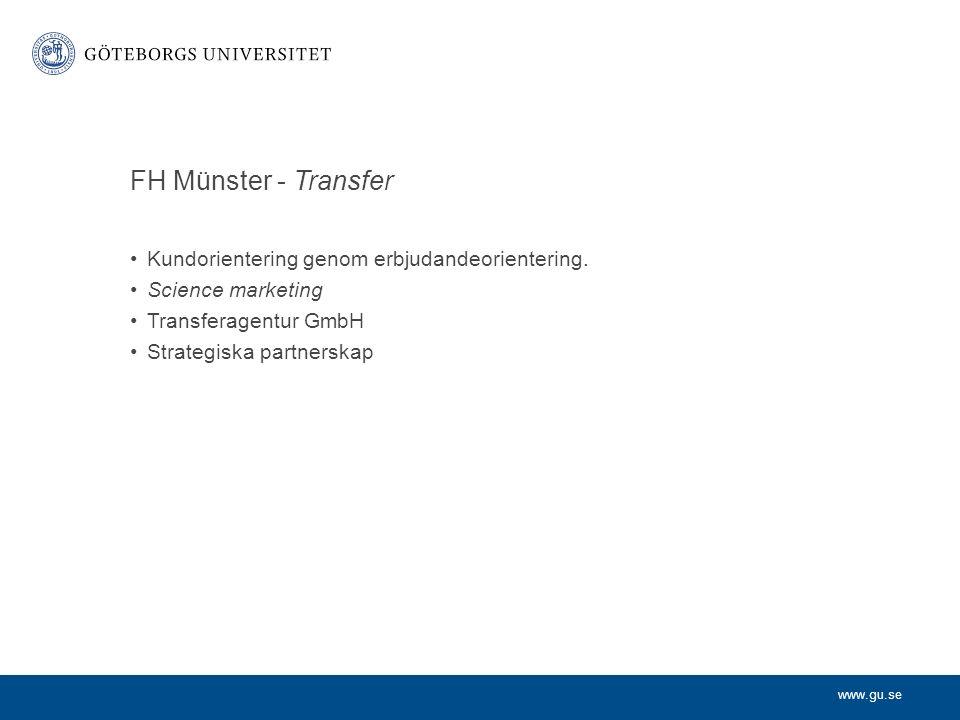 www.gu.se FH Münster - Transfer Kundorientering genom erbjudandeorientering.
