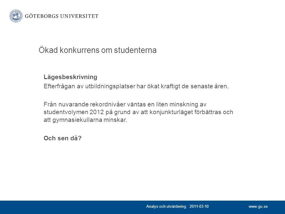 www.gu.se Ökad konkurrens om studenterna Lägesbeskrivning Efterfrågan av utbildningsplatser har ökat kraftigt de senaste åren.