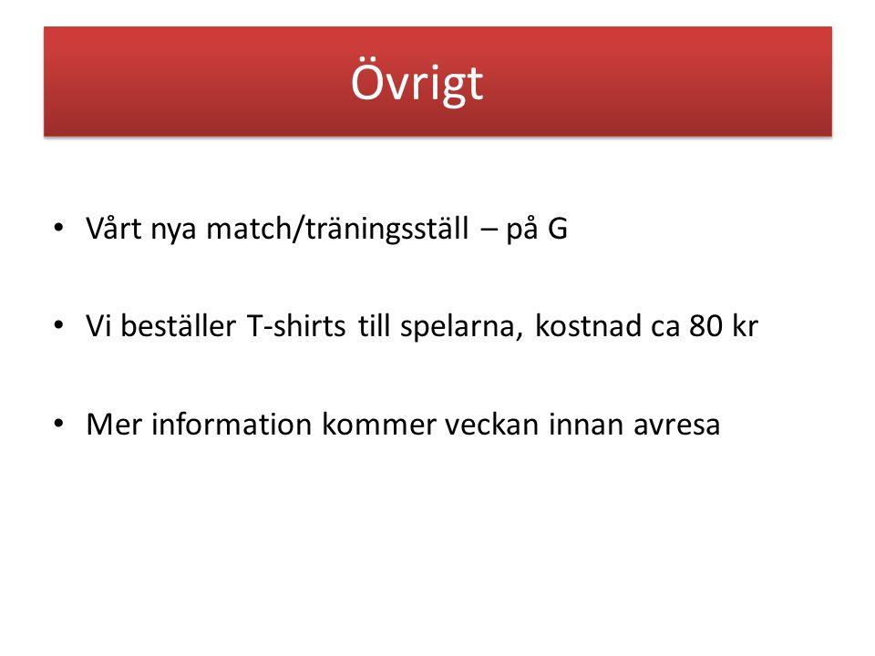 Övrigt Vårt nya match/träningsställ – på G Vi beställer T-shirts till spelarna, kostnad ca 80 kr Mer information kommer veckan innan avresa