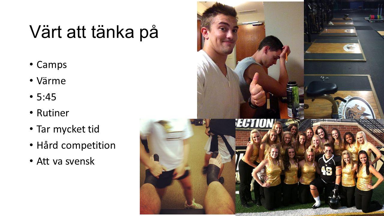 Värt att tänka på Camps Värme 5:45 Rutiner Tar mycket tid Hård competition Att va svensk