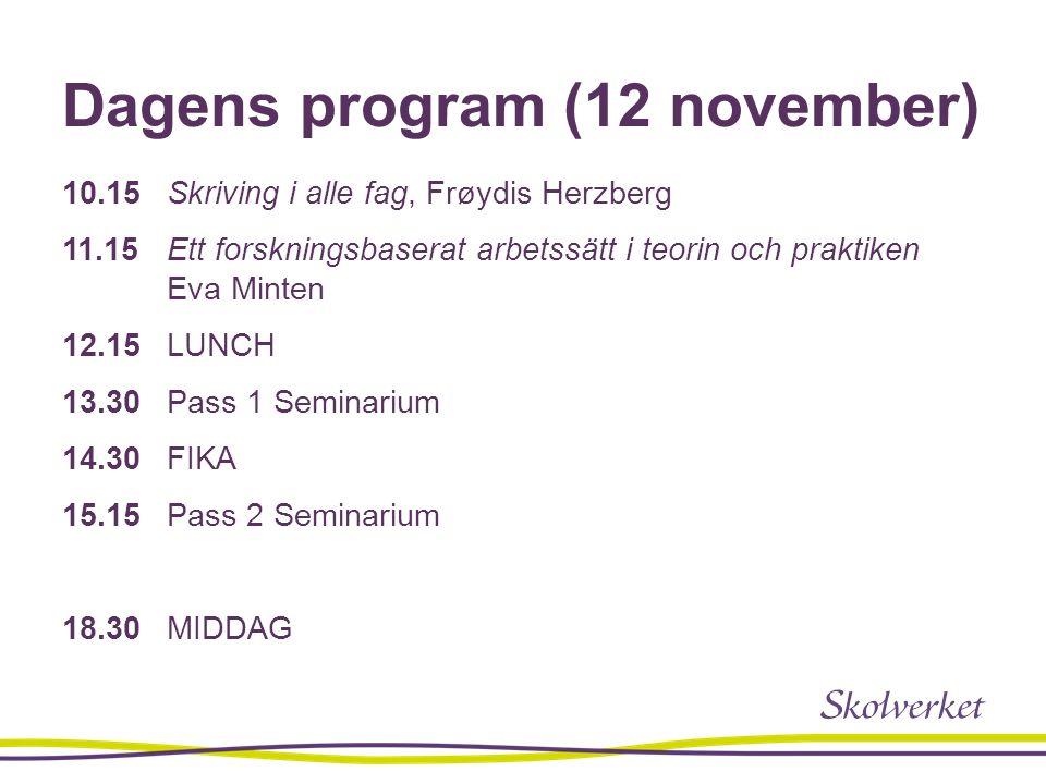 Dagens program (12 november) 10.15 Skriving i alle fag, Frøydis Herzberg 11.15 Ett forskningsbaserat arbetssätt i teorin och praktiken Eva Minten 12.1