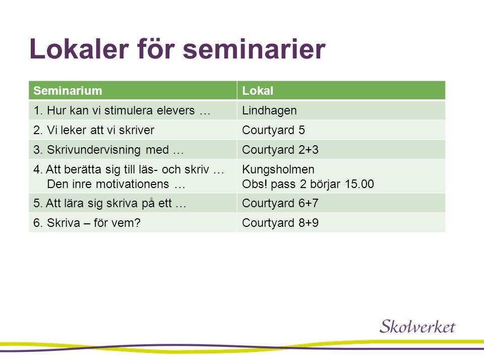 Lokaler för seminarier SeminariumLokal 1. Hur kan vi stimulera elevers …Lindhagen 2. Vi leker att vi skriverCourtyard 5 3. Skrivundervisning med …Cour
