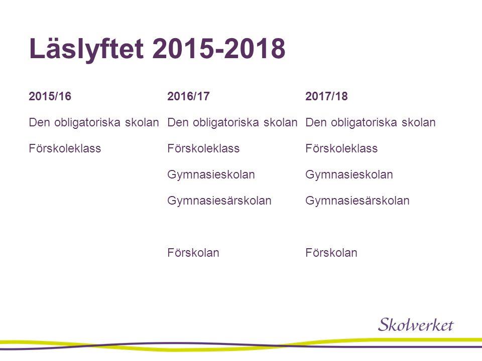 Läslyftet 2015-2018 2015/16 Den obligatoriska skolan Förskoleklass 2016/17 Den obligatoriska skolan Förskoleklass Gymnasieskolan Gymnasiesärskolan För